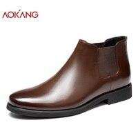 AOKANG/2018 Новое поступление Осенняя обувь Для мужчин Натуральная кожа Для мужчин обувь модные ботинки челси Для мужчин обувь высокого качеств