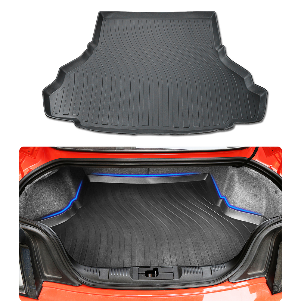 HANGUP Heavy Duty Rubber Trunk Cargo Liner Floor Mat Interior Decoration Stickers For Ford Mustang 2015 Up Car Styling for mazda cx 5 cx5 2nd gen 2017 2018 interior custom car styling waterproof full set trunk cargo liner mats tray protector