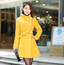 2016 Women Trench Coat Spring Winter Warm Long Outwear Work Suits Korean Style Turn Down Collar Elegant Belt Ladies Coat A421