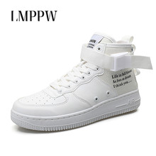 Купить с кэшбэком Men Sneakers Men Shoes High Top Casual Shoes New 2018 Autumn Breathable Rubber Board Shoes Men Outdoor Travel Shoes White 2A