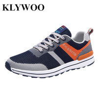 KLYWOO Brand Mens Casual Shoes Fly Weave Summer Breathable Light Sneakers For Men Shoes Lace Up