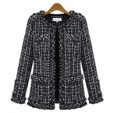Chic Lattice Jacket Slim Woman Tartan Suits Coat Black and White Plaid Women's Blazer Splicing Woolen Cardigan High Waist Tops