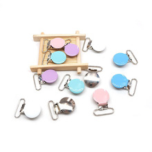 Chenkai 5PCS 1 25mm Round metal Clips For Suspenders Soothers Pacifier DIY Baby Teether Chain Toy Holder Accessories