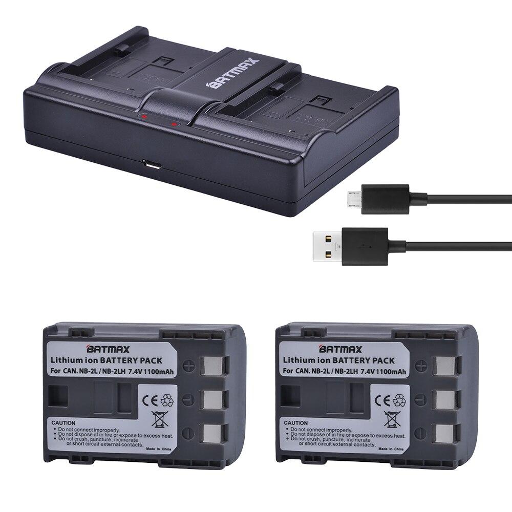2Pcs NB-2L NB 2L NB2L NB-2LH NB 2LH NB2LH Battery + USB Dual Charger for  Canon 350D 400D G7 G9 S30 S40 z1 Kiss N X Rebel XT XTi