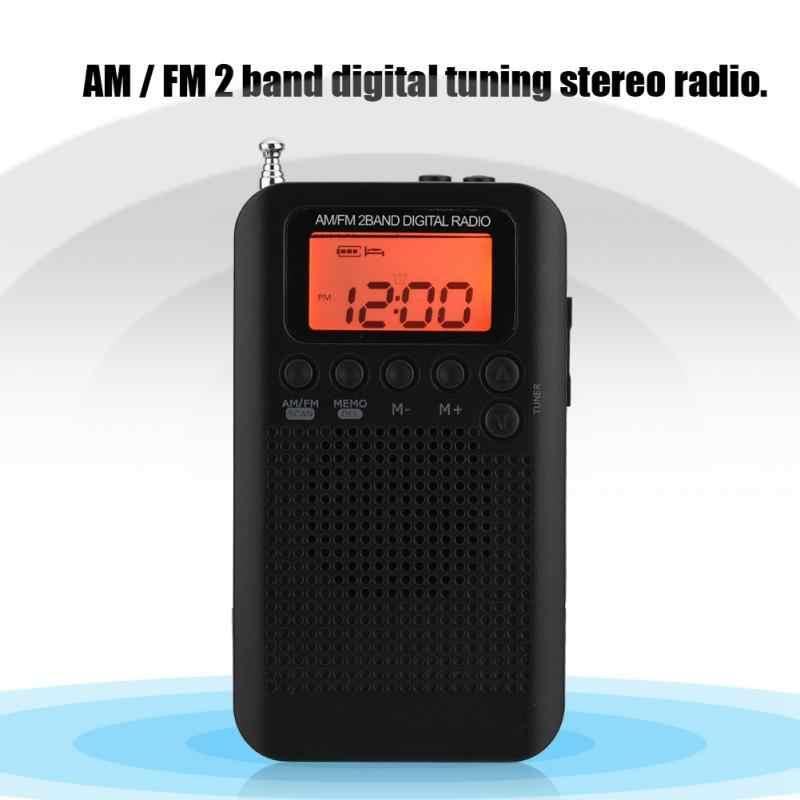 Dijital cep radyo taşınabilir AM/FM dijital ayar radyo Dual Band Stereo Mini radyo 3.5mm kulaklık jakı lcd ekran ekran