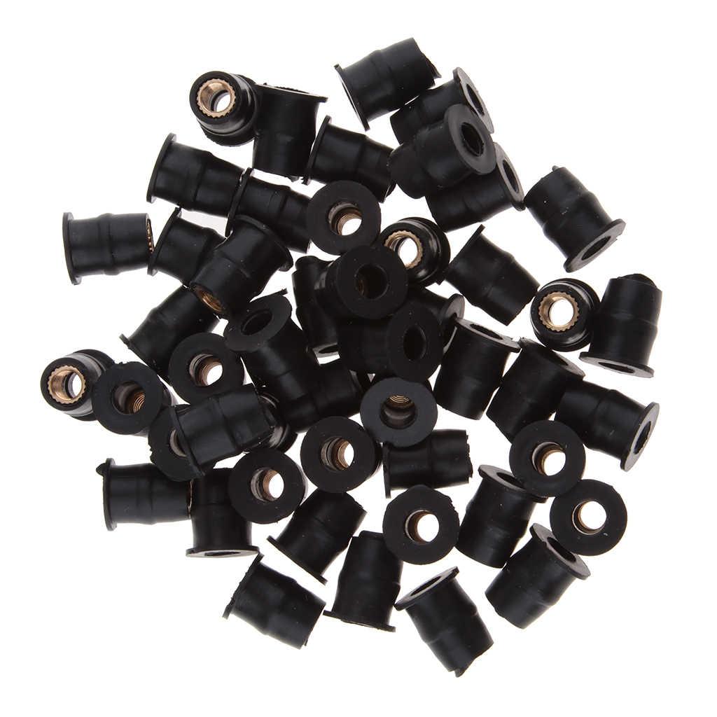 50 Buah M5 Sepeda Motor Kaca Depan Karet Baik Kacang Keling RUB Nut Rongga Hadiah Memperbaiki Aksesoris Motor Bagian Hitam