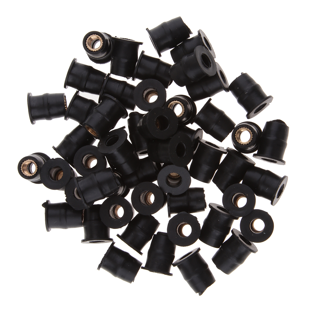 50 Pieces M5 Motorbike Windscreen Rubber Well Nuts Rivet Rub Nut Cavity Fairing Fixing Motorcycle Accessories Parts Black