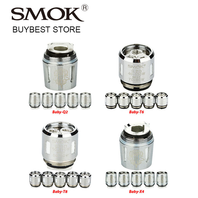 5pcs SMOK V8 Baby Coil Head Baby-T6 Sextuple/Baby-T8 Octuple 0.15ohm/Baby-X4 Quadruple/Baby-Q2 Dual for TFV8 Baby Tank Atomizer