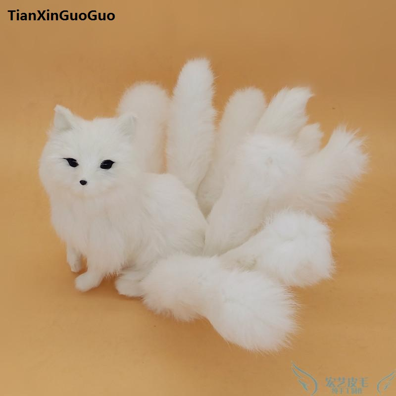 simulation fox large 35x18cm hard model polyethylene&furs white fox with nine tails,handicraft home decoration gift s0782 simulation animal large 28x26cm brown fox model lifelike squatting fox decoration gift t479