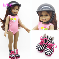 1 компл. Спорт Сапоги и ботинки для девочек роликовые коньки + Детская безопасность шляпа для 18 дюймов American Girl Doll для любого 18 дюймов Куклы са...