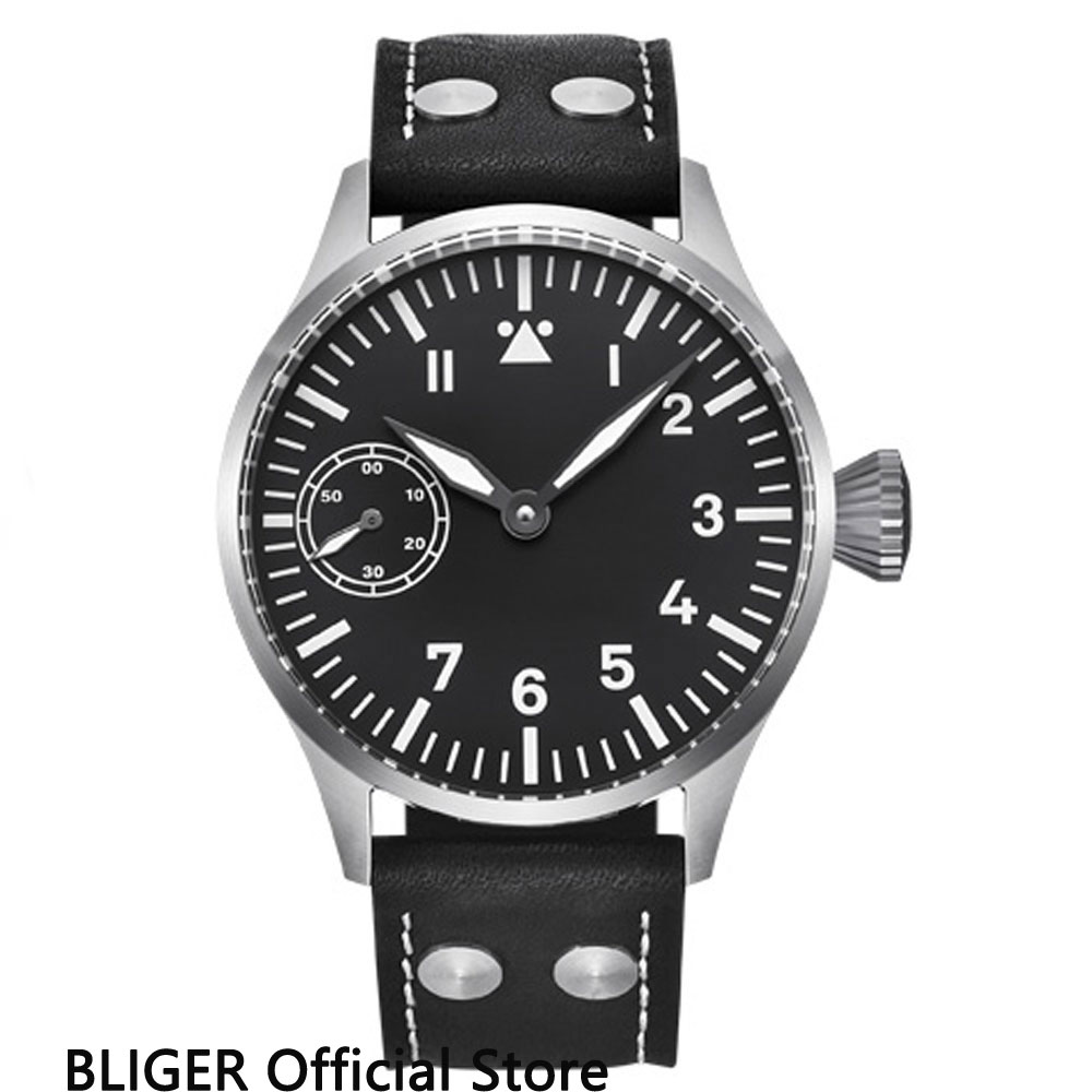 Classic 44MM Black Sterile Dial Mechanical Watches Stainless Steel Case 17 Jewels 6497 Hand-Winding Movement Men's Watch Men B5 relojes full stainless steel men s sprot watch black and white face vx42 movement