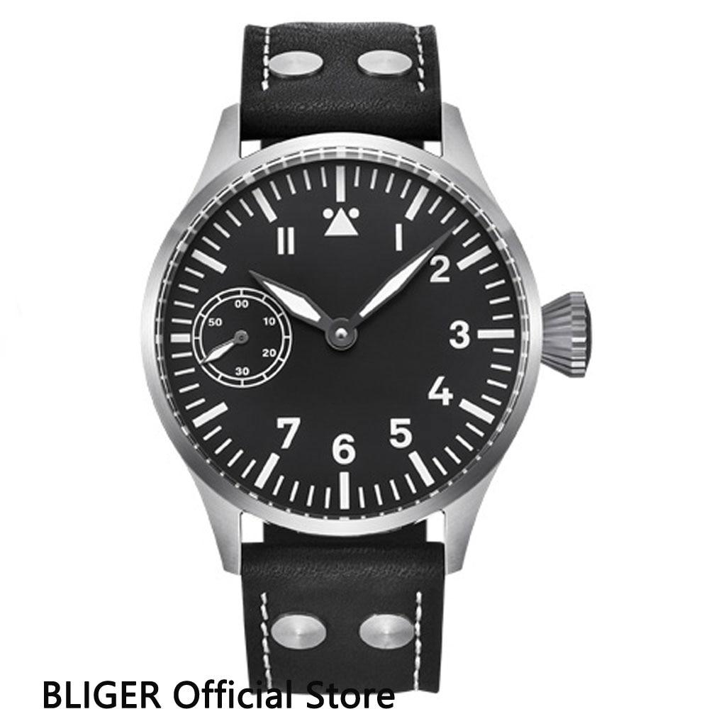 лучшая цена Classic 44MM Black Sterile Dial Mechanical Watches Stainless Steel Case 17 Jewels 6497 Hand-Winding Movement Men's Watch Men B5