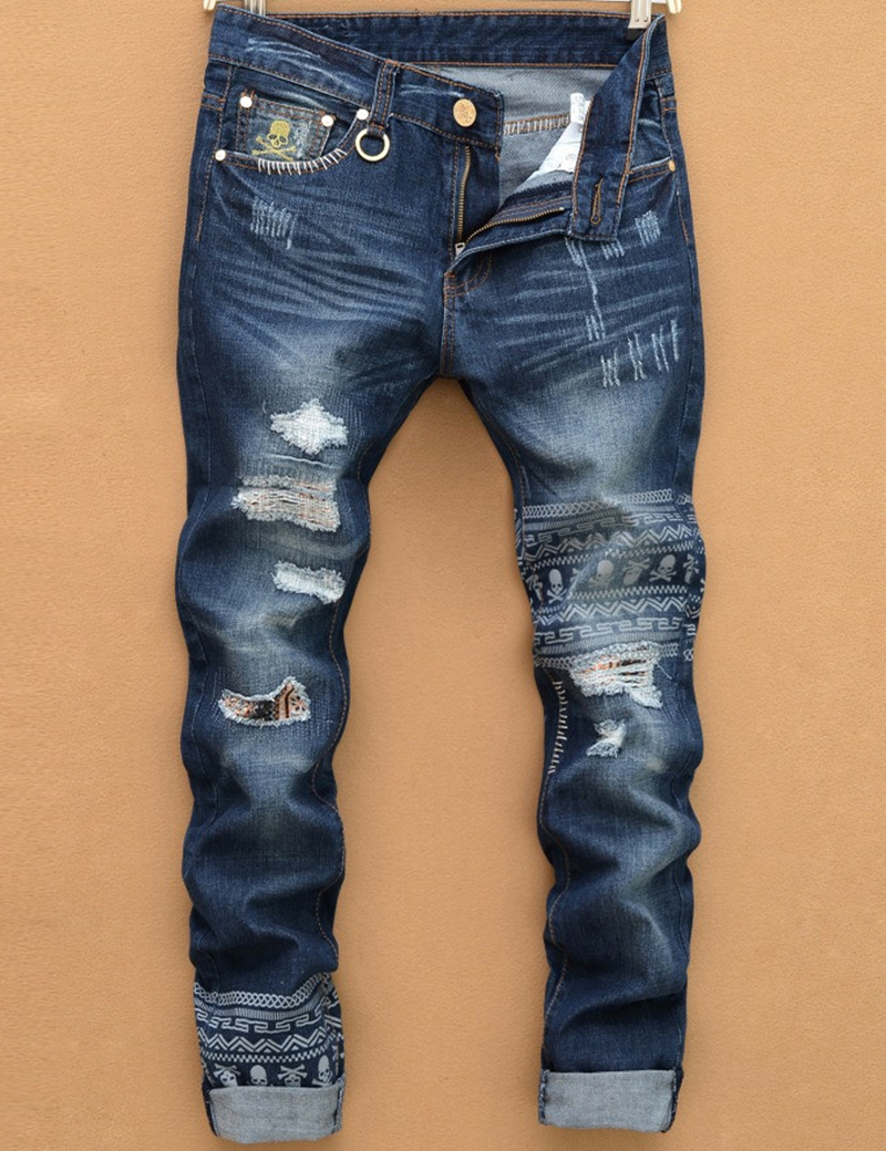 2018 new tearing denim men ripped jeans hip hop skull head straight slim  balmai jeans men denim pants male trousers size 28-38