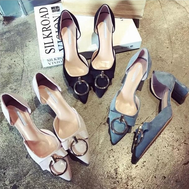 Single shoes female 2017 thick heel bow all-match fashion round buckle shallow mouth pointed toe high-heeled shoes