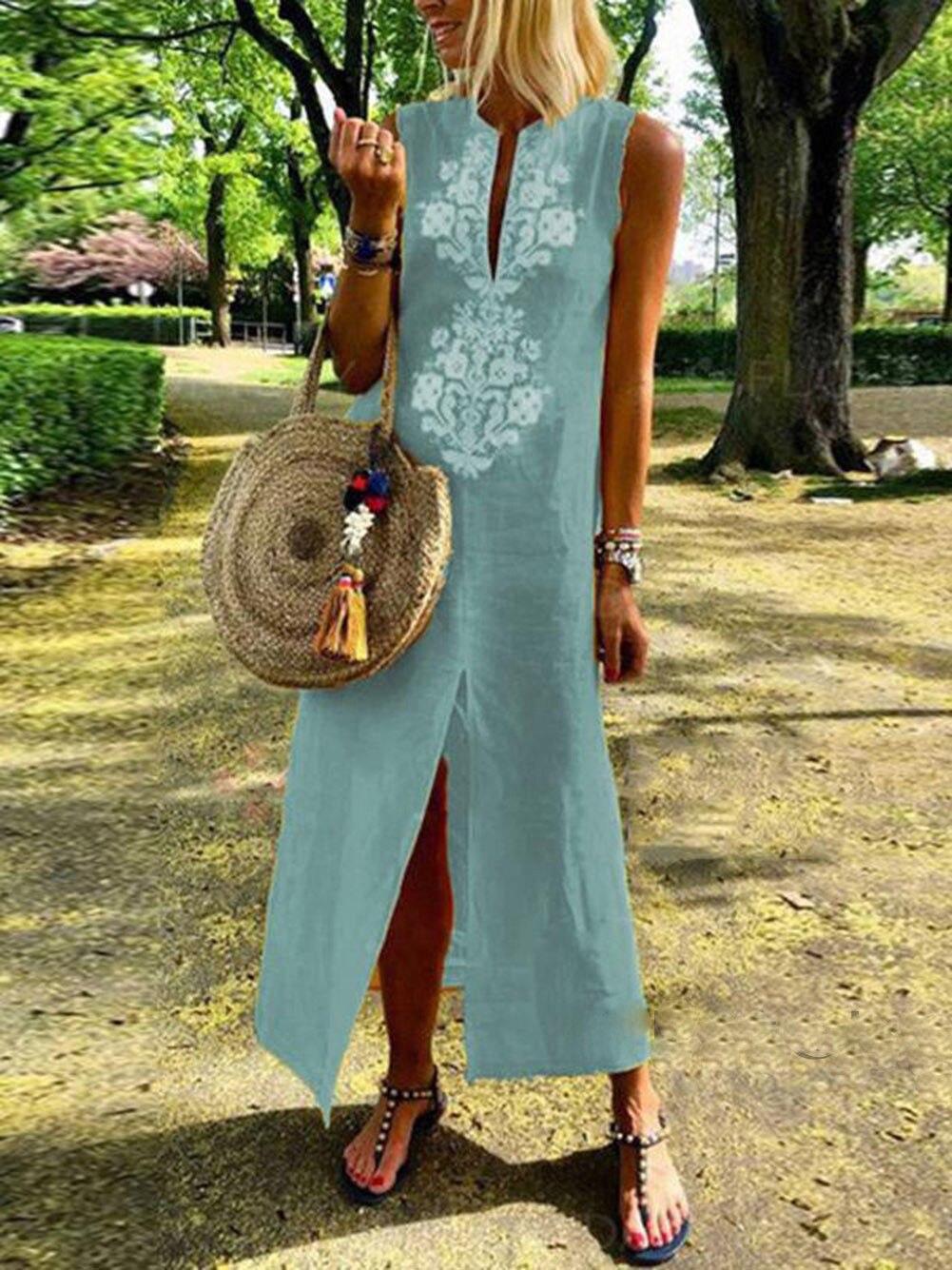 Хит продаж, женское платье-Кафтан без рукавов, с принтом, с треугольным вырезом, платье в стиле бохо, свободные летние платья для девушек, пля...