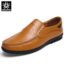 38e0801497f URBANFIND Fashion Men Leather Loafers Casual Driving Shoes Size 38-44  Summer Shoes Male Slip-on Moccasins Black Brown Yellow
