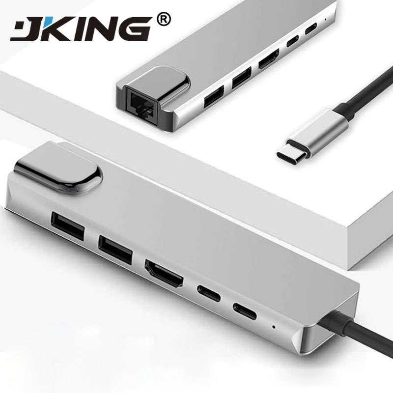 JKING 6 in 1 USB Type C Hub Hdmi 4K USB C Hub to Gigabit Ethernet Rj45 Lan Adapter for Mac book Pro Thunderbolt 3 USB C Charger