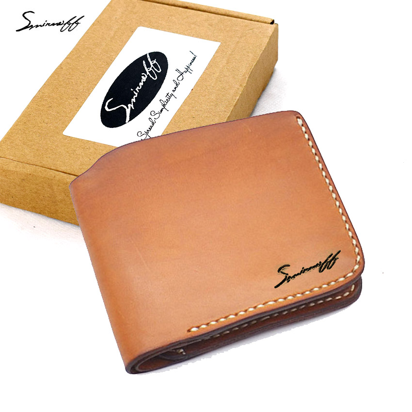 ФОТО SMIRNOFF 2017 Vegetable Tanned Leather Wallet Men Luxury Custom Name Pure Hand Stitch Short Purse Simple Wallet Card