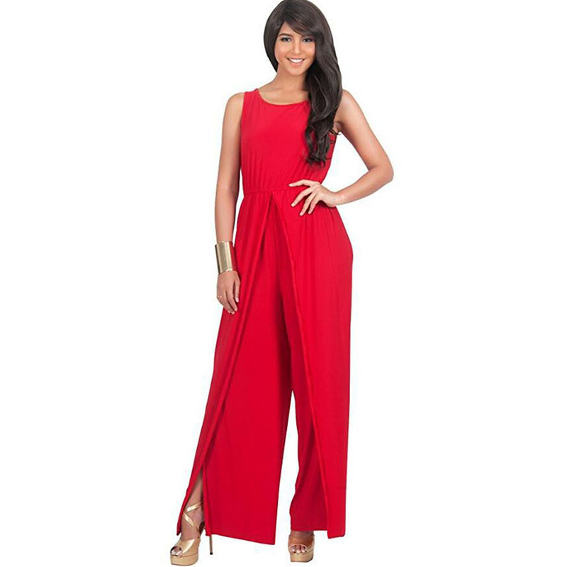 Clocolor women jumpsuits overalls trousers plus size full length sleeveless loose high waist New elegant jumpsuits Big Size