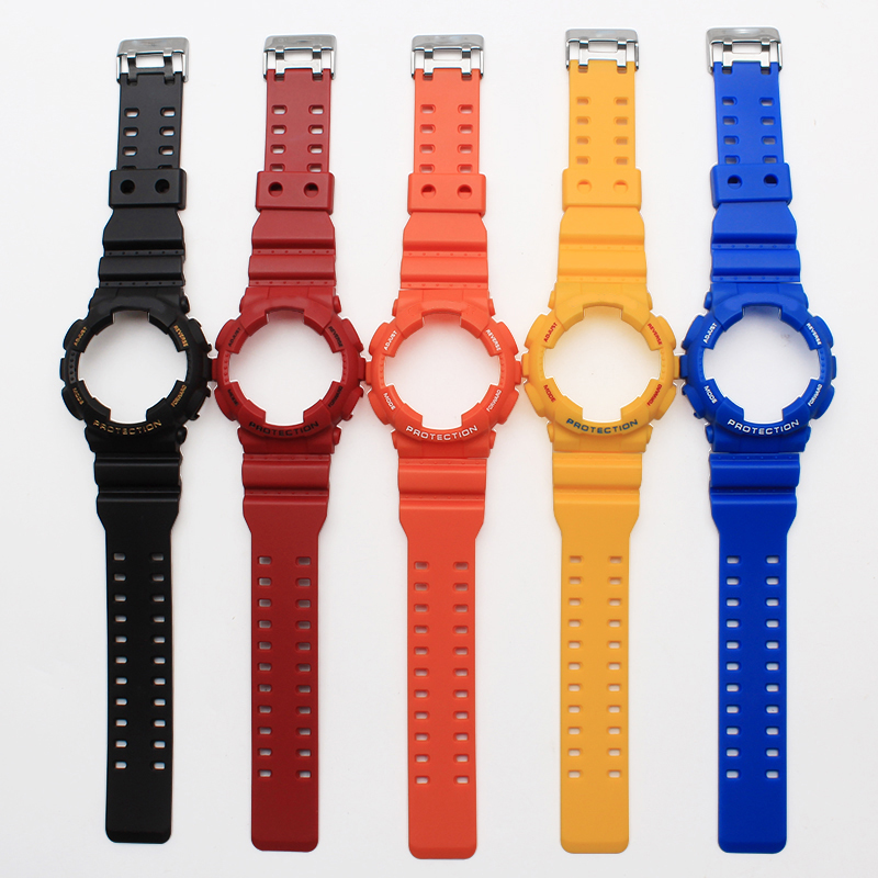 Hot sale Silicone Strap 16mm Colorful Rubber Watchband + Watchcase  For  CasioGD-100/GA-100/GA-110/GA-120/G-8900