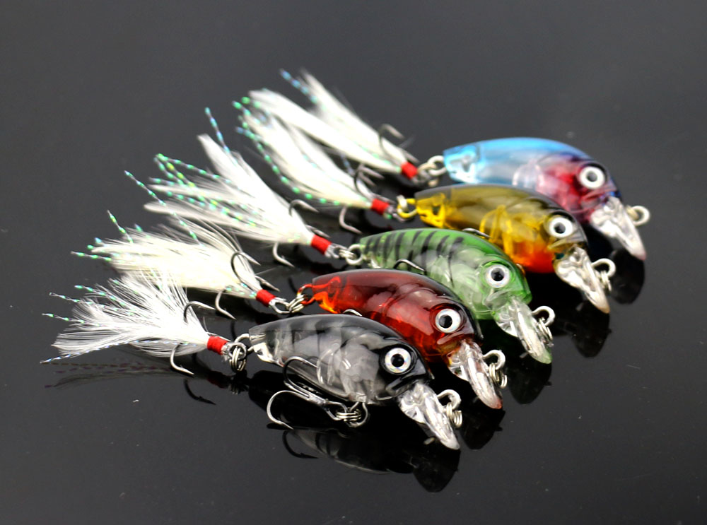 5 pcs MINI Crankbait Crank fishing lures Feather Hooks Bass lure Topwater fishing bait Crystal hard plastic minnow (CB028)
