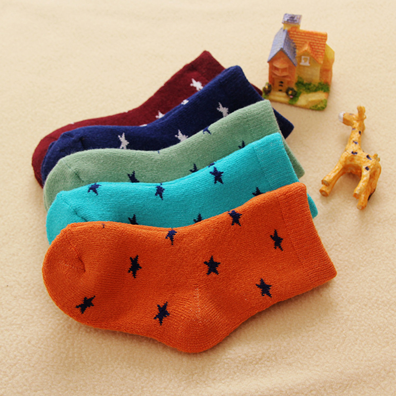 Thicken Warm Baby Sock Cotton Knitting Kids Sock Stars Pattern Cute ...