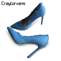 Craylorvans Top Quality Denim High Heels Women Pumps New Fashion Big Size Thin Heels Women Shoes
