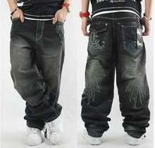 Free shipping !!!  hot sale Eminem favorite HIPHOP street trend pure black pants men's loose board jeans