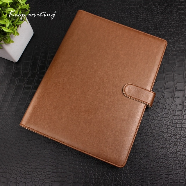 f5620602b18 A4 PU Leather cover Organizer with 4 ring metal binder LOGO customized  notebooks and journals Agenda planner journal Book