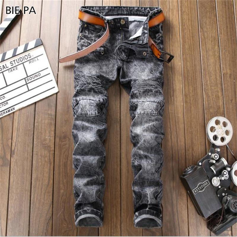 2018 New Fashion Mens jeans Casual snow knees Patches Trousers Tight Pants Biker jeans men #9008