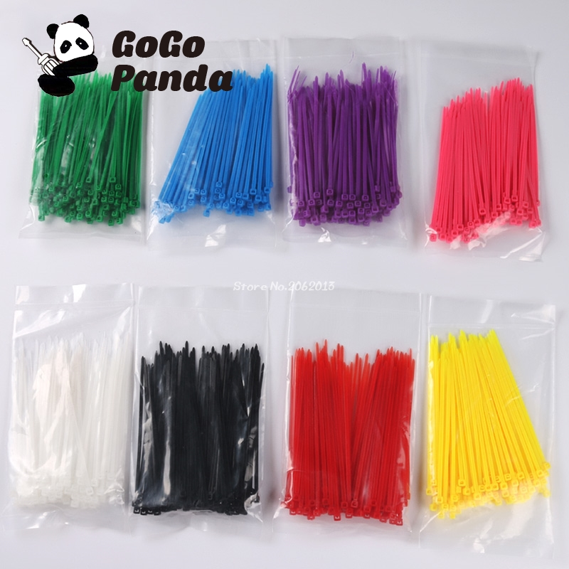 Free Shipping 3mm*100mm Cable Tie Colorful Self-Locking Nylon Wiring Accessories (2.5mm*100mm) surplice neckline self tie cami jumpsuit