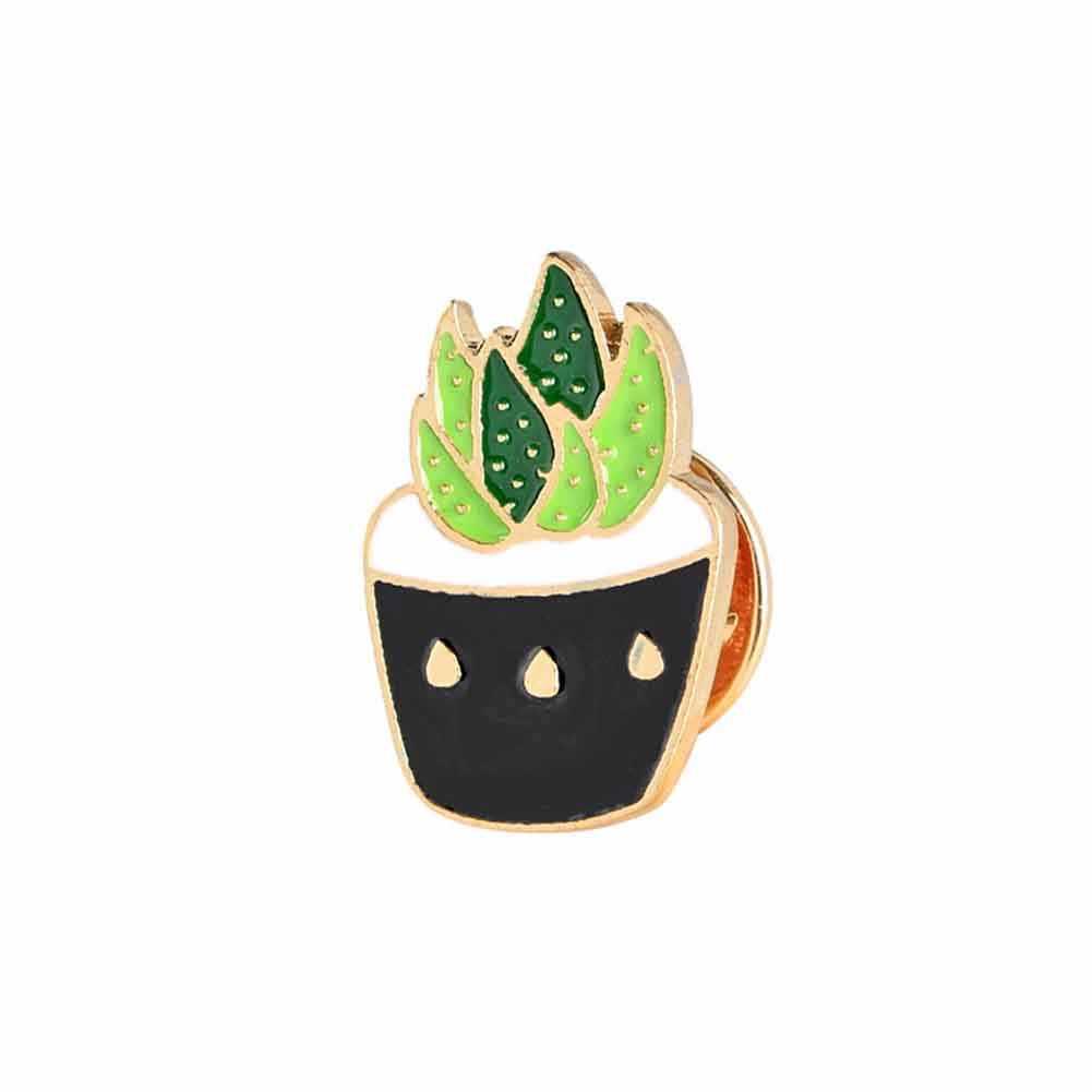6 Stile Del Fumetto di Modo Dello Smalto Pin Spilla In Metallo Mini Pianta Verde In Vaso Cactus Pulsante Spille Colletto della Giacca di Jeans Badge Pins