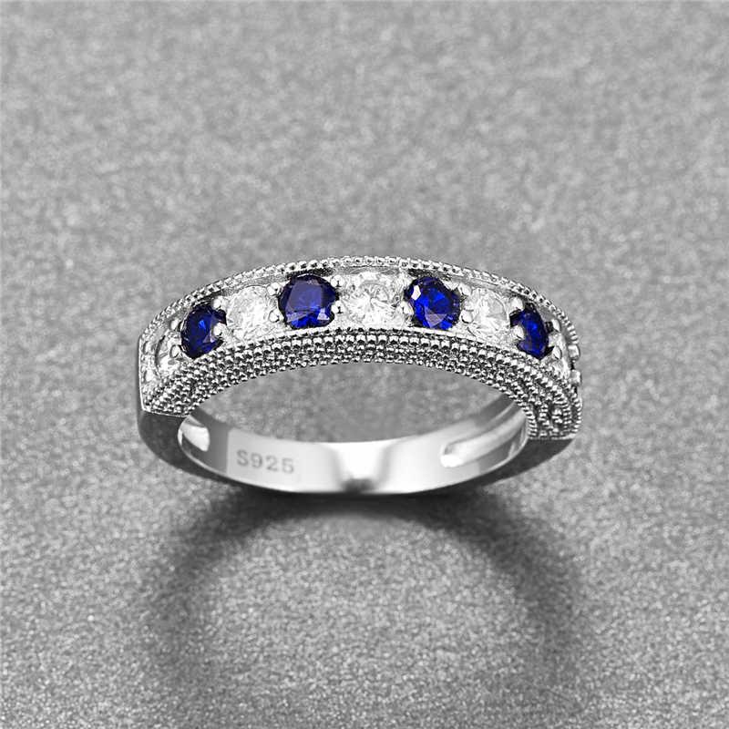 JQUEEN Runde Blau Tanzanite Weiß Zirkon Ringe Für Frauen Silber Ring 925 Schmuck Pflastern Einstellung Kristall Schmuck Bijoux Femme