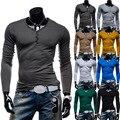 2016 Hot Sale New Fall high-elastic Brand cotton men's long sleeve v neck t shirt S-XL 5 Colors XXL  aeronautica militare men