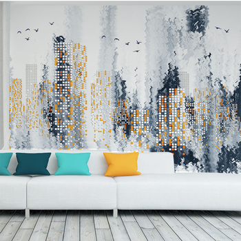 Custom 3D Poster Photo Wallpaper Modern Abstract Simple City Night Wall Painting Wallpaper Living Room Wallpaper Papel De Parede wallpaper city guide milan 2014