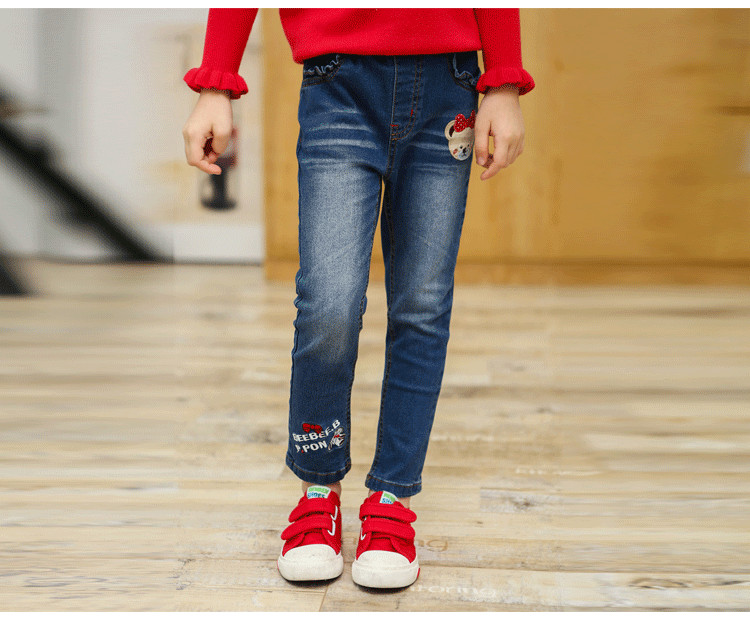 Vestidos Design Autumn fall girls cotton blue jeans bear letters fashion jeans girls clothes kids clothes