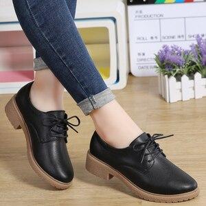 Image 5 - حذاء من الجلد الصناعي للنساء من JZZDDOWN حذاء أكسفورد للنساء برباط علوي حذاء بدون كعب خريفي فاخر للنساء