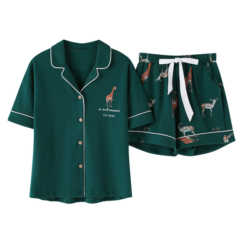 Summer 2020 Loose Pajama Sets Women Cartoon Giraffe Print 2 Pieces Set Short Sleeve Top + Shorts Elastic Waist Pyjamas S93224