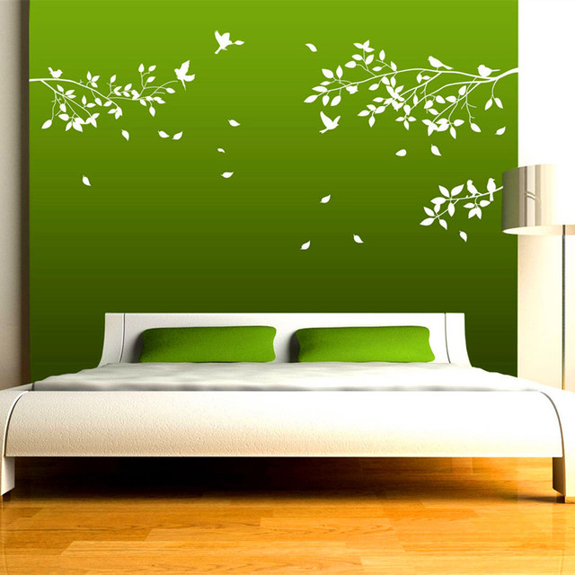 Free Shipping   Huge Large White Tree Branches Wall Art Mural,Birds Wall  Sticker ,