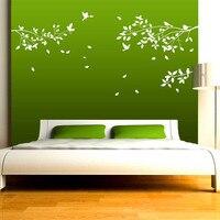 Frete Grátis-Enorme Grande Branco Galhos de Árvores Parede Arte Mural da parede, Adesivo de Parede Pássaros, ramos Decalque Da Parede Do Vinil Adesivos de Parede Decor