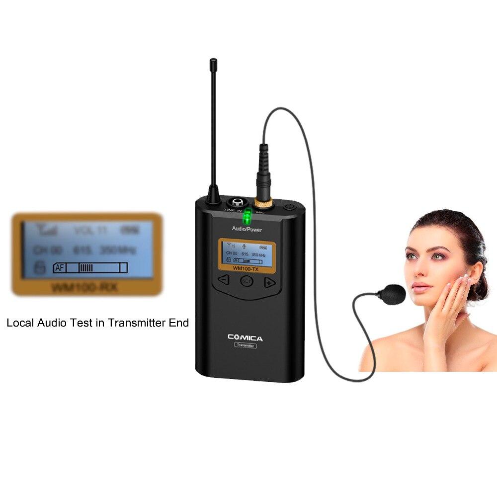 CoMica CVM-WM100 48 Microfone UHF Canal 100 M Faixa de Trabalho Omni-direcional Microfone de Lapela Sem Fio para Smartphone IPhone Câmera