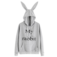 Women S New Spring Autumn Hoodie Cute Rabbit Ears Pocket Sweatshirt Hooded Sportswear Tops Blouse Long