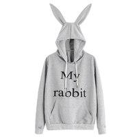 Women S New Spring Autumn Hoodie Cute Rabbit Ears Pocket Sweatshirt Hooded Sportswear Tops Blouse Long