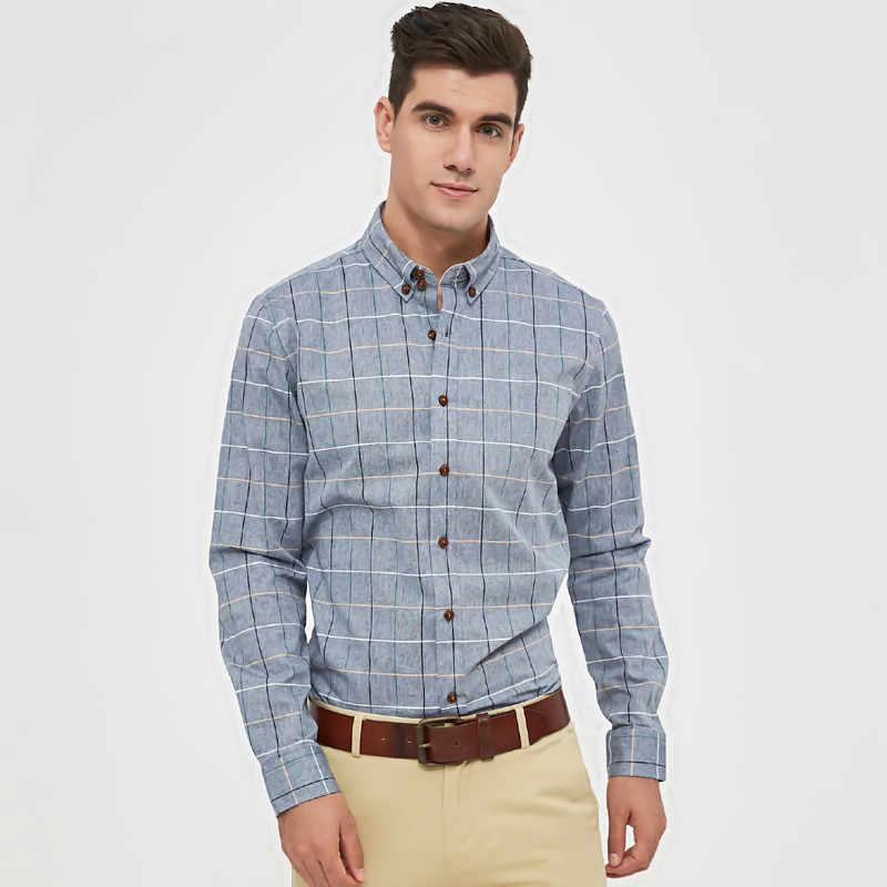 Miacawor плед рубашки для мужчин с длинным рукавом Camisa Masculina Повседневная рубашка Slim Fit Для мужчин рубашка с длинным рукавом рубашка Camisa Hombre плюс Размеры C127