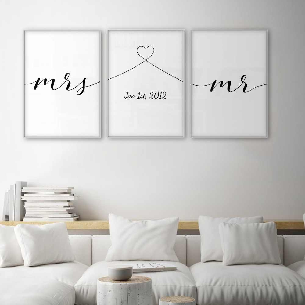 Mrs Mr Love Quotes Poster Minimal Wall Art Canvas Print Couple Anniversary Gift Picture Living Room Bedroom Nordic Wall Decor