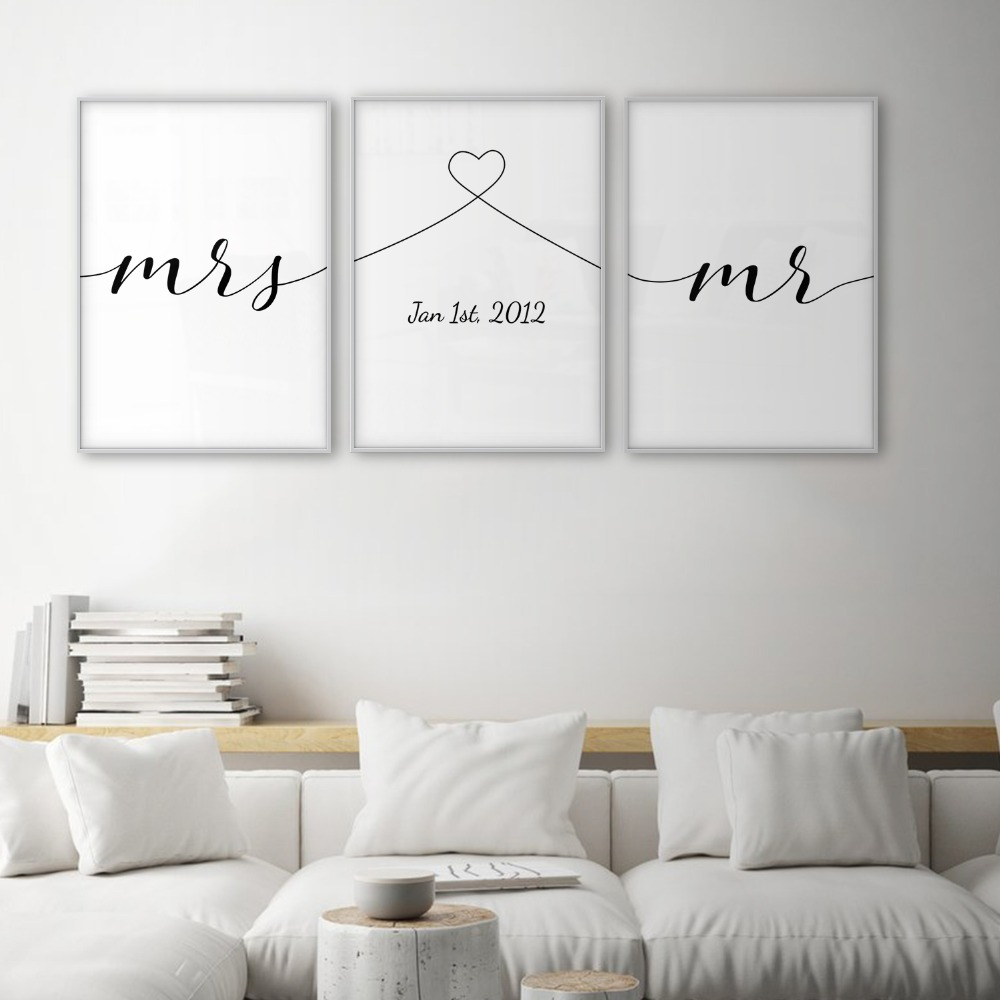 Mrs Mr Love Quotes Poster Minimal Wall Art Canvas Print