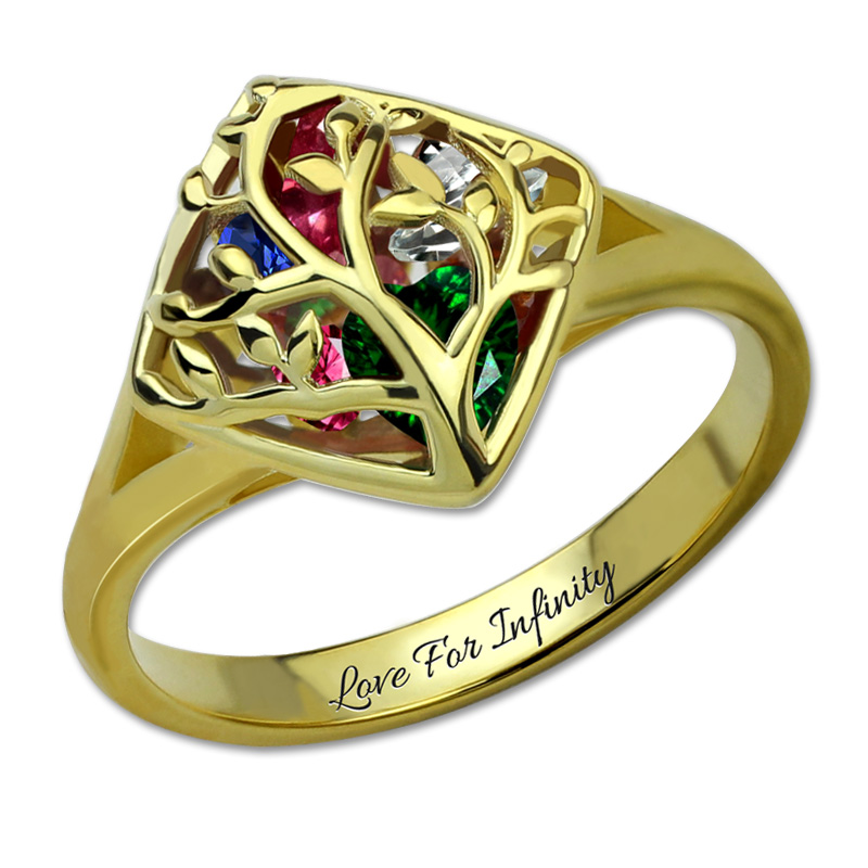 AILIN Mother's Family Tree Ring Cage Birthstone Ring Personalized Birthstone Ring Family Ring Gold Color ring guess ring