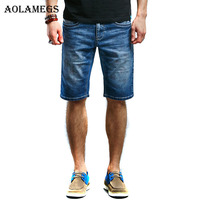 Aolamegsผู้ชายกางเกงขาสั้นผ้ายีนส์พิมพ์ผู้ชายกาง