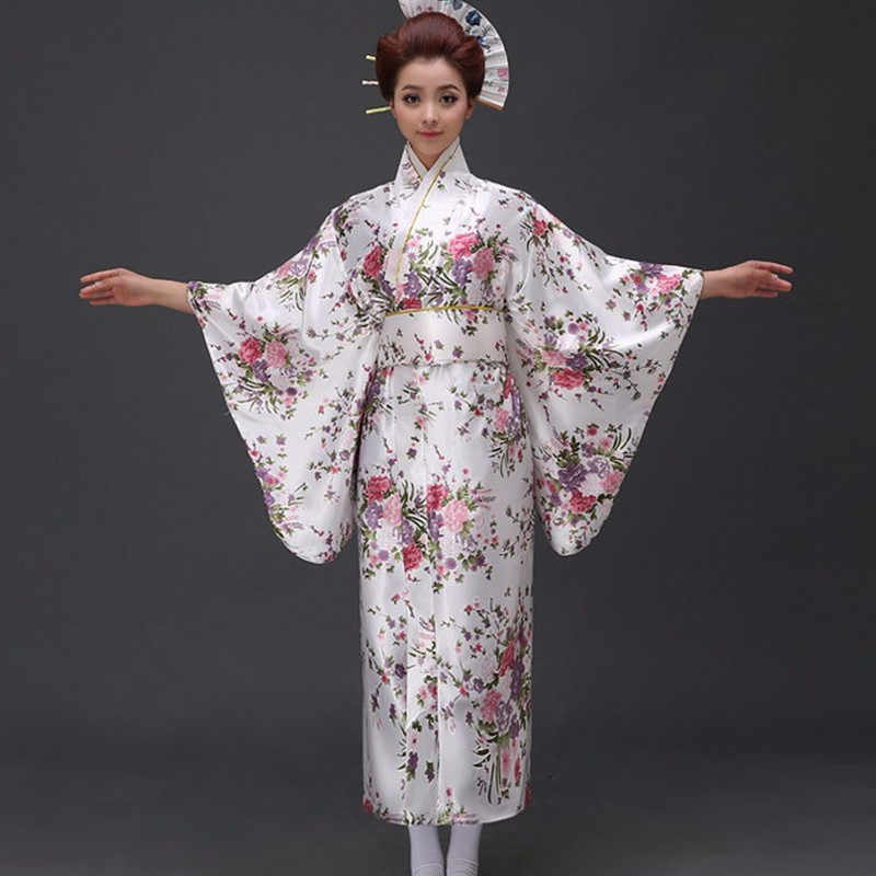 Spedizione Gratuita Rosso Dell'annata Giapponese delle Donne Raso di Poliestere Kimono Yukata Mujeres Quimono Vestito Da Sera Del Fiore One Size