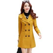352967c690 Nowy jesień zima kobiety wełniany płaszcz Slim wiatrówka płaszcz żeński